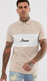 Colour Block Polo With Amour Print