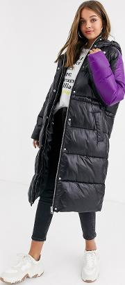 Contrast Panelled Puffer Coat