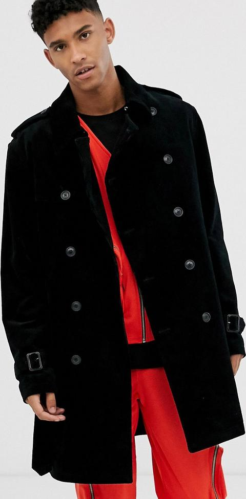 Mens Jacket Brave Soul Mac Trench Coat Process Black Collared Button Lined New