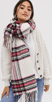 Cream Check Long Scarf With Pink Highlight