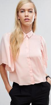 Cropped Blouse With Flutter Sleeve