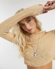 Cropped Crew Neck Ribbed Jumper