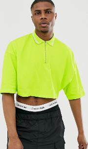 Cropped Oversized Polo Shirt With Half Sleeve And Zip Neck Tipping Neon