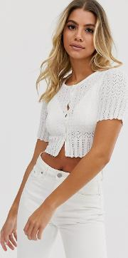 Cropped Stitch Detail Cardigan Top