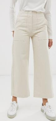 Cropped Wide Leg Carpenter Jeans With Contrast Stitch