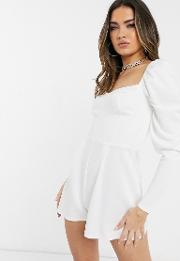 Cupped Playsuit With Long Sleeves