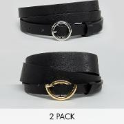Curve 2 Pack Circle Buckle Waist And Hip Jeans Belts