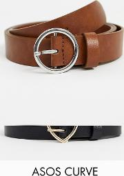 Curve 2 Pack Heart And Circle Buckle Waist Hip Belts