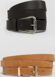 Curve 2 Pack Jeans Belt And Skinny