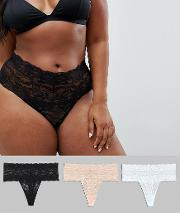 Curve 3 Pack Deep Lace Thong