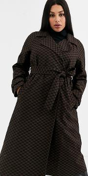 Curve Checkerboard Trench Coat