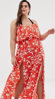 Curve Double Layer Beach Maxi Dress