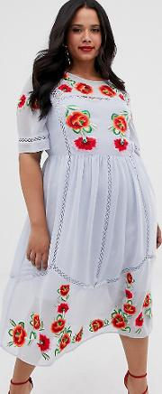 Curve Embroidered Smock Midi Dress With Ladder Trims