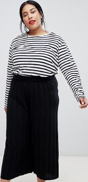Curve Knitted Culottes With Deep Rib