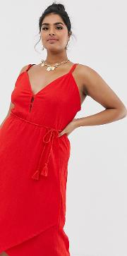 Curve Midi Wrap Sundress With Tassel Belt
