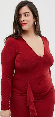 Curve Plunge Mini Dress With Ruffle Detail