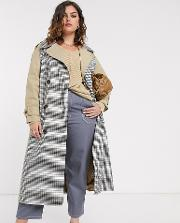 Curve Trench Coat With Check Splicing