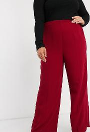 Curve Wide Leg Trousers With Clean High Waist