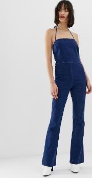 Denim Flared Jumpsuit With Strappy Back