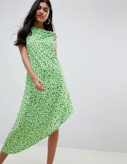 design ditsy print midi dress with button detail
