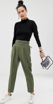 Double Belt & Hardware Tapered Trousers