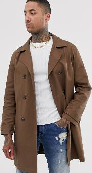 Double Breasted Linen Look Trench Coat