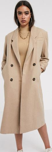 Double Breasted Longline Coat Camel