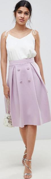 Double Breasted Midi Prom Skirt