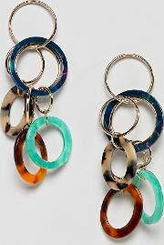 earrings with open circle resin shapes  gold