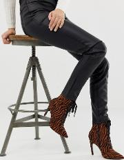 Elaina Tiger Print Lace Up Boots