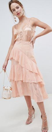 embroidered lace asymmetric ruffle high low midi skirt