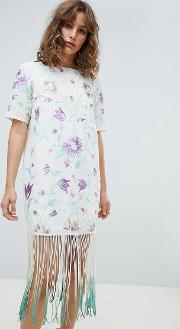 Embroidered Midi Dress With Tie Dye Fringe