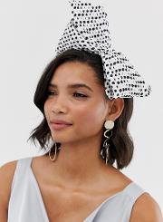 Fascinator With Oversized Abstract Bow Polka Dot
