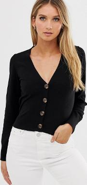 Fine Knit Cardigan With Buttons