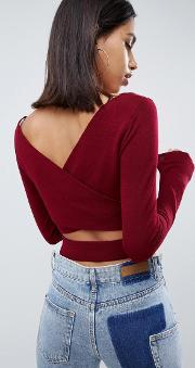 Fine Knit Top With Cross Back Detail