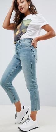 florence authentic straight leg jeans in light green cast