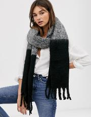 Fluffy Two Tone Colour Block Scarf With Tassels