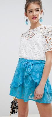 Frill Mini Skirt With Tie Waist Soft Jacquard