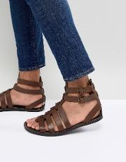 gladiator sandals in leather