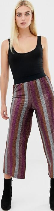 Glitter Stripe Cropped Straight Leg Trouser