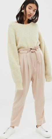 Gutsy Linen Tapered Trousers With Rope Belt
