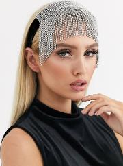 Headband With Statement Crystal Fringe Black Velvet