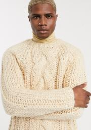 Heavyweight Hand Knitted Cable Jumper