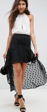 High Low Hem Skirt With Spot Chiffon Detail