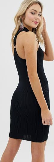 High Neck Mini Bodycon Dress With Ring Back