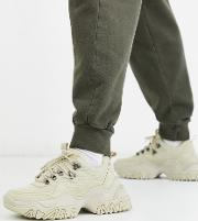 Hiker Trainers Stone With Chunky Cleated Sole