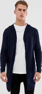 Hooded Open Cardigan With Curved Hem