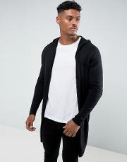 Hooded Open Front Cardigan With Curved Hem