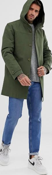 Hooded Trench Coat With Shower Resistance