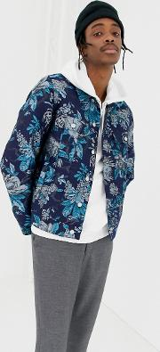 jacquard jacket in blue